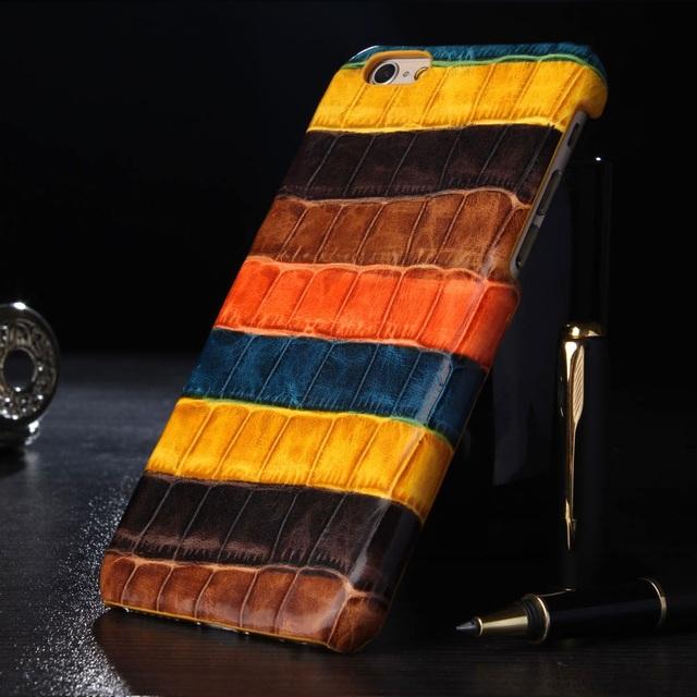 Genuíno real capa de couro de luxo case para iphone 6 6 s 7 além de Casos de Telefone Celular Cor 3D Padrão de Pele de Crocodilo de Volta Com pacote