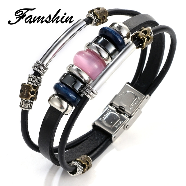 FAMSHIN Multilayer Pink Opal Beaded Leather Bracelet Fashion Braided Leather Bracelets For Women Wood Punk Rock Men Jewelry
