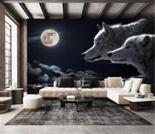 3d Wallpaper Walls Promotion Modern Mood Moonlight Empty Wolf night Scene dDigital Print HD Wallpaper 3d night scene door sticker