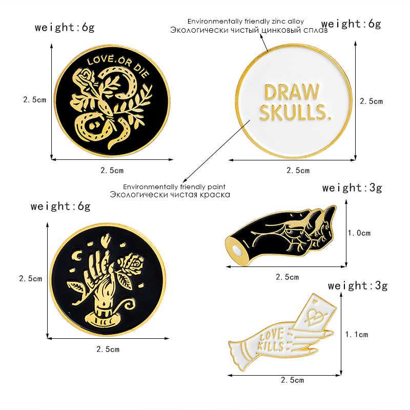 Рисование черепов, любовь, любовь или гибель, руки со змеей и розы эмалированные броши значки панк булавки коллекция эмалированные булавки