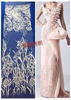 Écru nouveau français broderie polyestor tulle maille dentelle pour le mariage/robe de soirée/partie, le bateau partout dans le monde