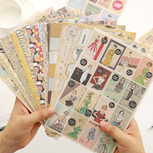 24 Sheets Lot Diy Sbooking Vintage Beautiful Stationery Paper Stickers School Office Supplies