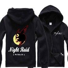Mens Hoodies Anime Akame ga KILL Night Raid Fleece Hooded Sweatshirt Jersey Full Sleeve Hoodie Zip-up Tops Spring Autumn Coat