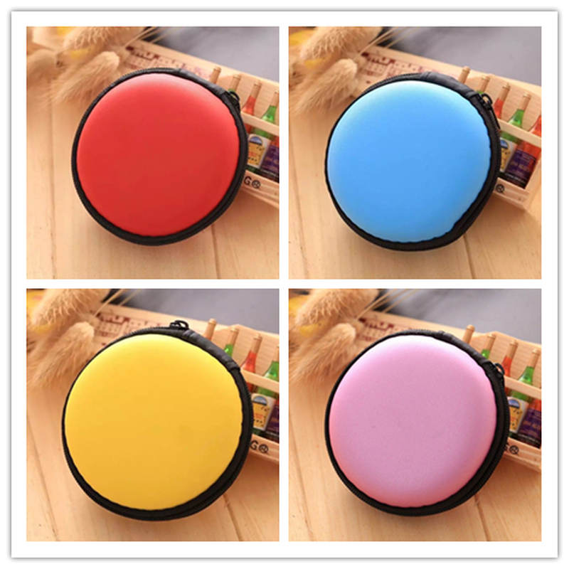 Zippered Pouch Portable Round Shape Earphone Bag Headset Box Hand Spinner Earphone Case Hard USB Cable Organizer Free Shipping