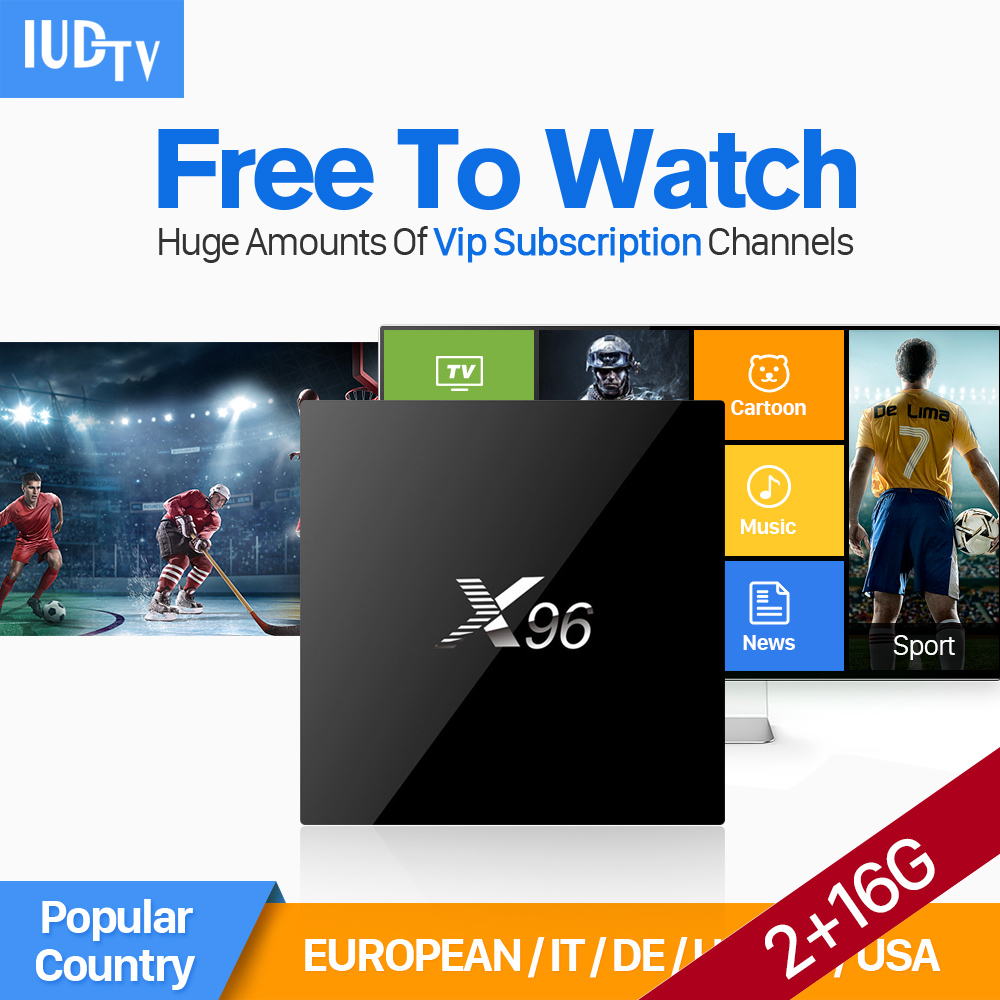 купить X96 Android IPTV Box with IUDTV IPTV Subscription UK Italy DE Spain Portugal Turkish Netherlands Sweden French Arabic IPTV Box недорого