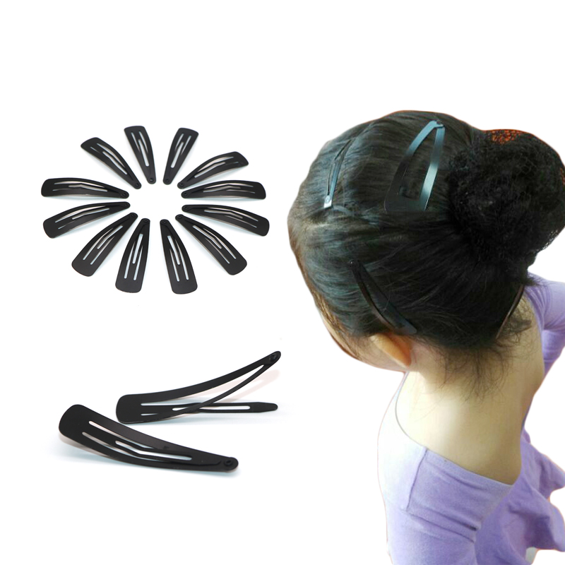 24Pcs Black Hair Clip Metal Snap 5CM Barrettes Hair Accessories Hairpins Hair Styling Hairgrips Braiding Tools for Women Girls in Hair Accessories from Mother Kids