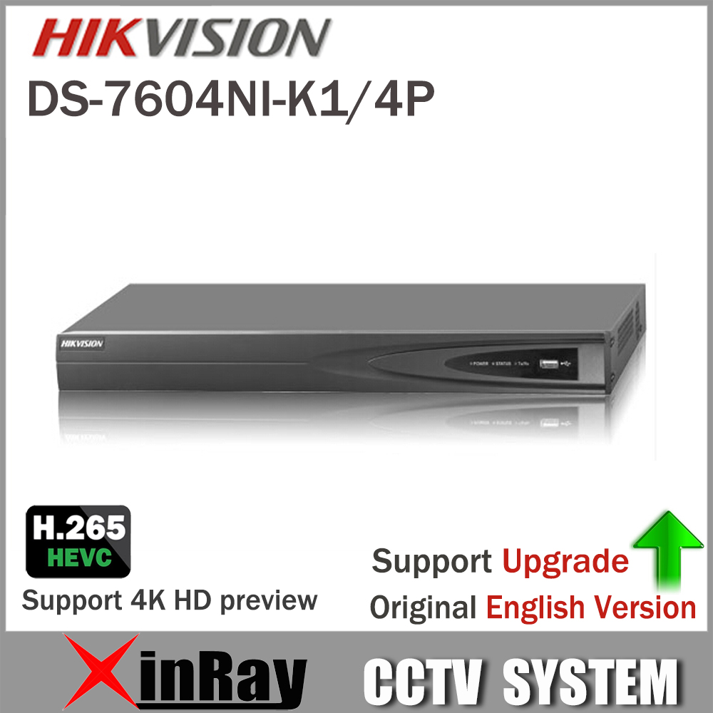 все цены на HIKVISION DS-7604NI-K1/4P 4CH POE Embedded Plug Play 4K PoE NVR for IP Camera CCTV System Support Third-party Network Camera онлайн
