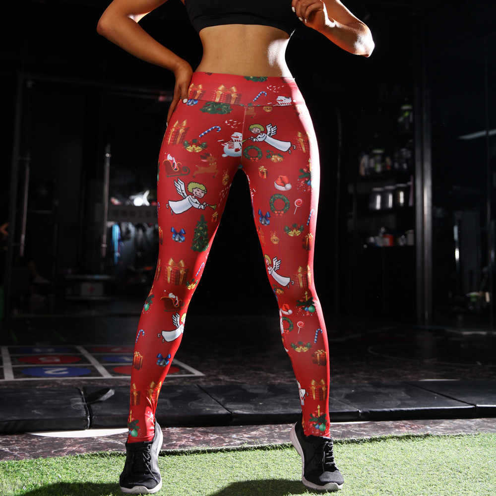 21b1e26792dab ... Hot Sale Sport Leggings Yoga Pants Polyester Elastic Waist Women High Waist  Yoga Christmas Print Running ...
