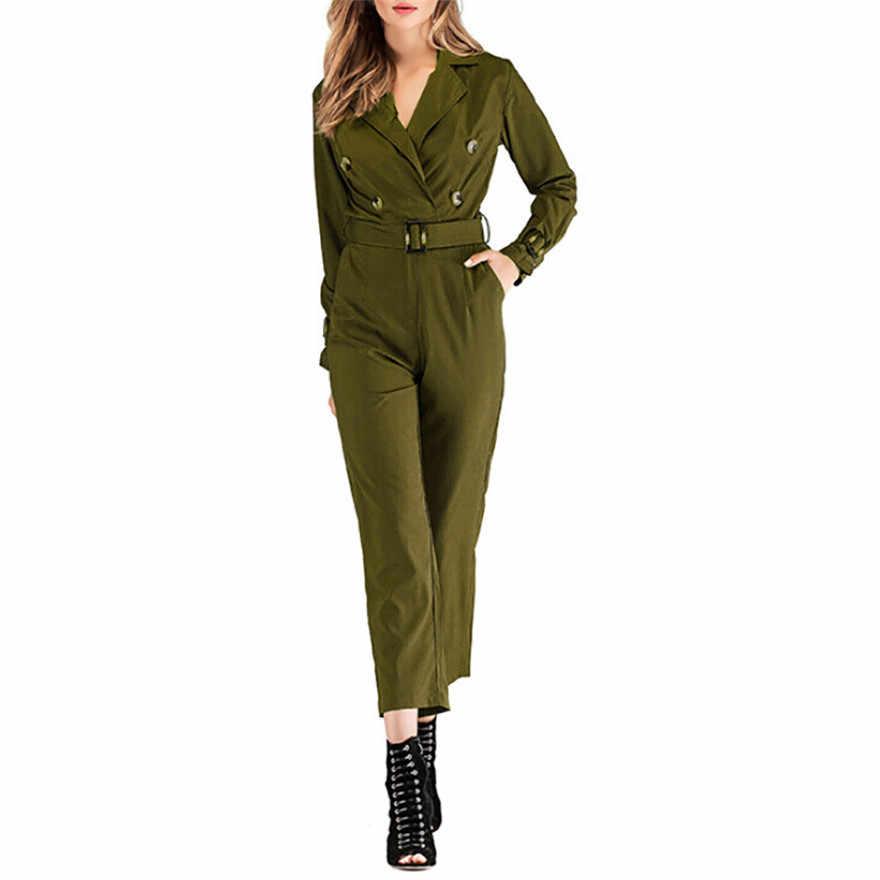 Женское осенне-зимнее армейское зеленое боди с длинным рукавом с v-образным вырезом и пуговицами, узкие брюки с поясом, комбинезон с завышенной талией-g