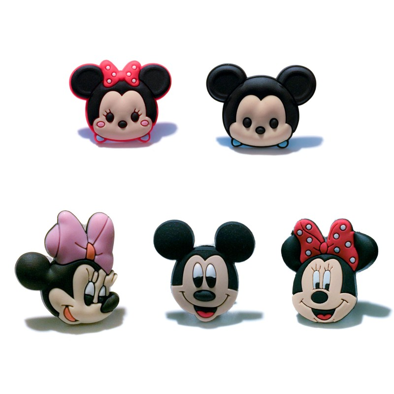 5pcs/lot Mickey Cartoon PVC Shoe Charms For Wristbands Summer Croc Decor For Shoes/Bracelets With Holes Kids Gifts