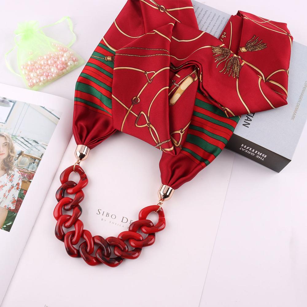 LARRIVED 2019 Multi-style Decorative Jewelry Necklace Yakeli Beads Pendant Scarf Ethnic Satin Scarf Free Shipping