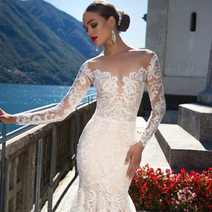 Image 4 - 2020 Vestido de Casamento Mermaid ชุดแขนยาวเซ็กซี่ Vestido de Noiva Sereia ดูผ่านกลับ Abito เจ้าสาว