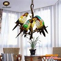 Tiffany Estilo Vitral Makernier Vintage Ramos de Árvore 5 Braços Candelabro de Papagaios|tree branch chandelier|vintage glass chandelier|tree chandelier -