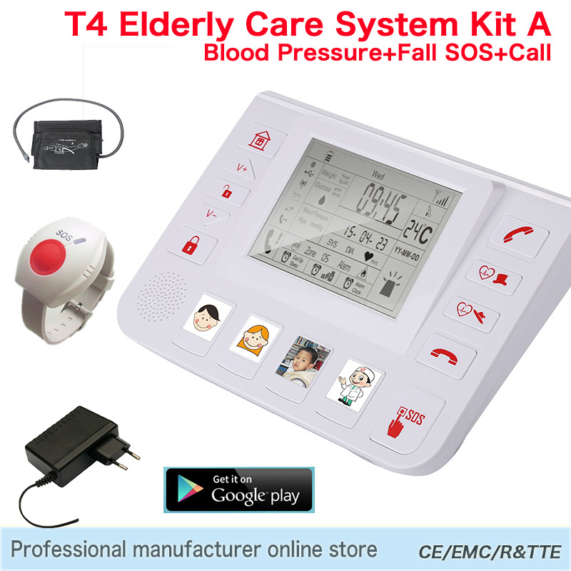 GPRS GSM Telecare Unite Alarm System Measure Blood Pressure Heart Rate Professional Healthcare Senior Helper Elder Care T4A king pigeon t4 direct factory gprs gsm emergency alarm telecare helper system sms for blood pressure monitor with android app