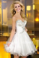 Beautiful Cocktail Dresses White Organza Sweetheart Appliques With Beading Off The Shoulder Open Back Mini Free