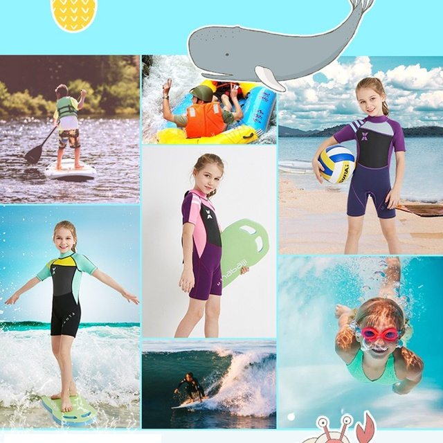 Kids Scuba Diving Suit Wetsuit 2.5MM Neoprene Wetsuit children for boys girls One-piece Shorty Sleeves UV protection Swimwear