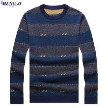 2017 winter new woolen sweater, Korean version striped round collar and thick sweater, 100% wool, high quality, free shipping
