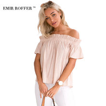 EMIR ROFFER Spring 2017 Sexy Boho Off Shoulder Women's Blouses Top Female Ruffle Chiffon Large Size Casual Summer Shirt Blusas