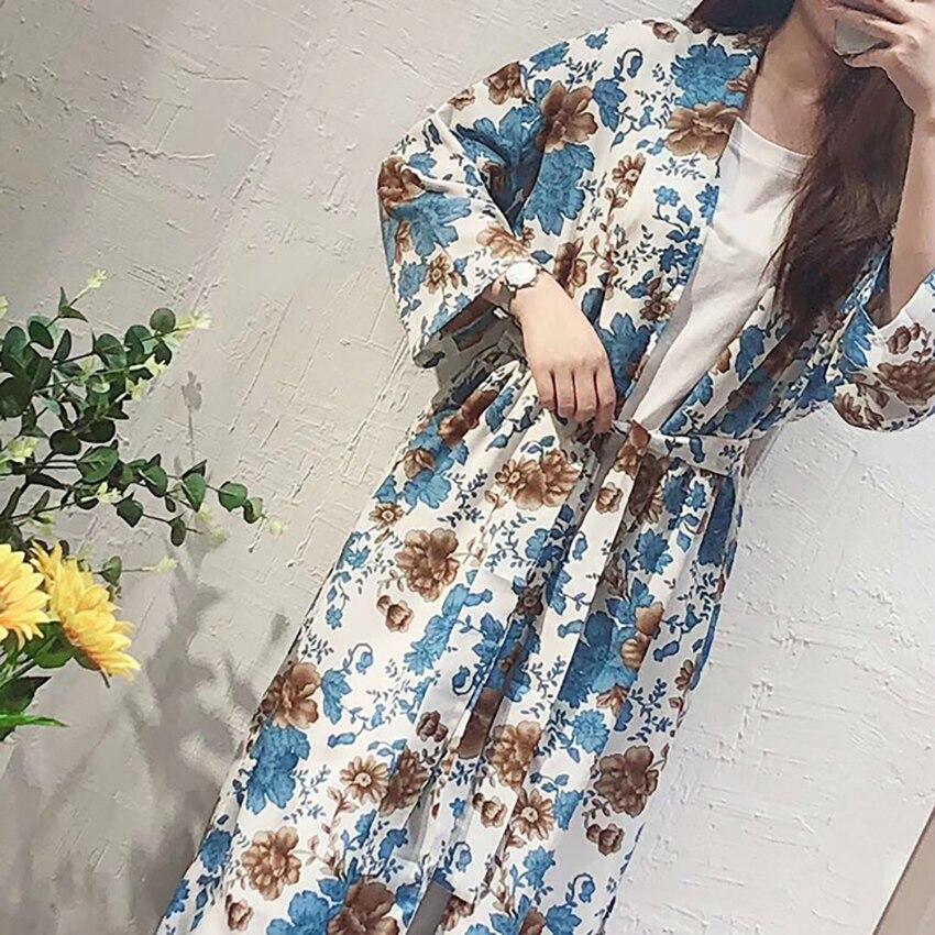 Marque coréenne mode femmes été Floral ouvert Cape décontracté manteau fille lâche kimono manches longues ouvertes Blouse codage #31222