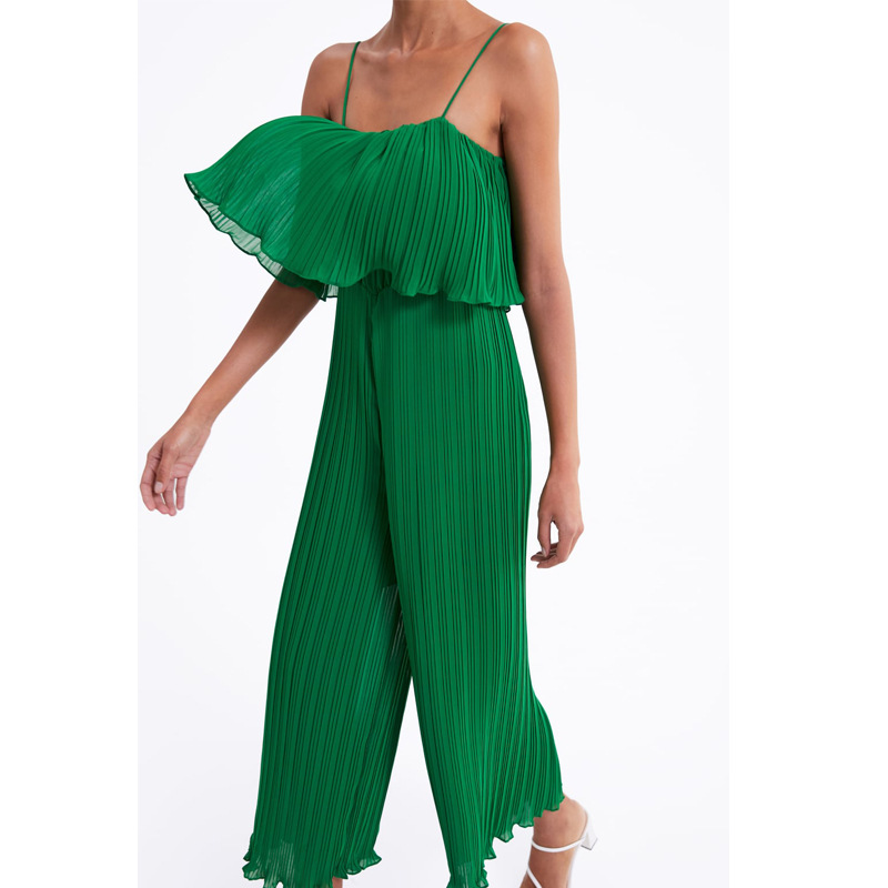 2019 Sexy Backless Black Women   Jumpsuit   Summer Wide Leg Chiffon Overall Romper Long Spagetti Strap Hollow Out Casual Playsuit