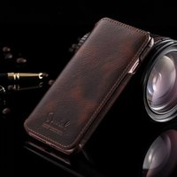 Lujo de cera de aceite de piel de cuero caso de la contraportada para iphone7 iphone6s Cartera de cuero