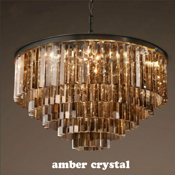 ZX Luxury American Crystal Retro Large Pendant Lamp Contracted E14 LED Restaurant Hall Lighting Three-Color Crystal Lamp