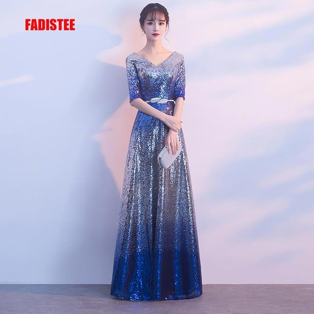 7a5e1de2690a7 FADISTEE New arrival elegant party dress evening dresses gradual bling  sequins lace prom frock gown sexy half sleeves