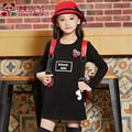 Brand New Spring Autumn Girls Clothing T-shirt Long Sleeves Red Black Children Cute Long T-shirt School Shirt Top tees GH048