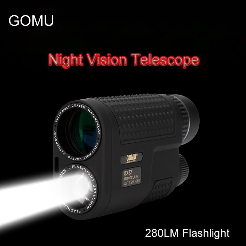 GOMU 8x32 Night Vision Monokulært Teleskop Multifunksjonelt Kompakt Teleskop Omfang Innebygd oppladbar lommelykt for jakt