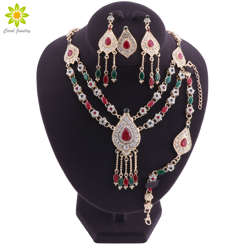 Women Wedding African Beads Jewelry Set Red Green Crystal Dubai Bridal Gold Color Necklace Sets Party Indian Jewellery