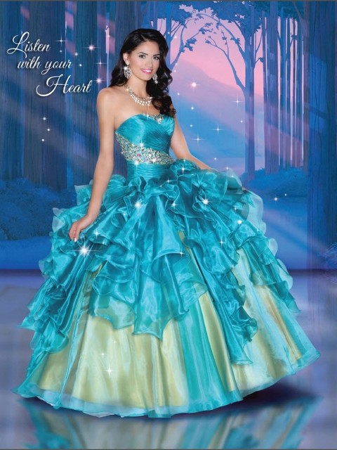 996b395862d 2017 Teal Gold Organza Ruffled Princess Ball Gown Quinceanera Dresses With  Strapless Beaded Special Occasion party Gown
