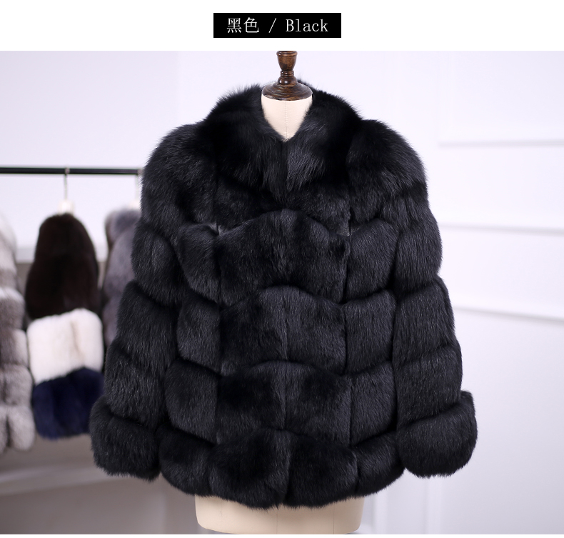 BFFUR Real Fur Coat for Women Fox Fur Coats New Fashion High Quality 2017 Model With Collar Black Gray Color Fox Fur Vest 10427