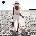 Lily Rosie Girl Women Off The Shoulder White Loose Elegant Sexy Party Long Dress Harajuku V Neck Cotton Summer Beach Dresses
