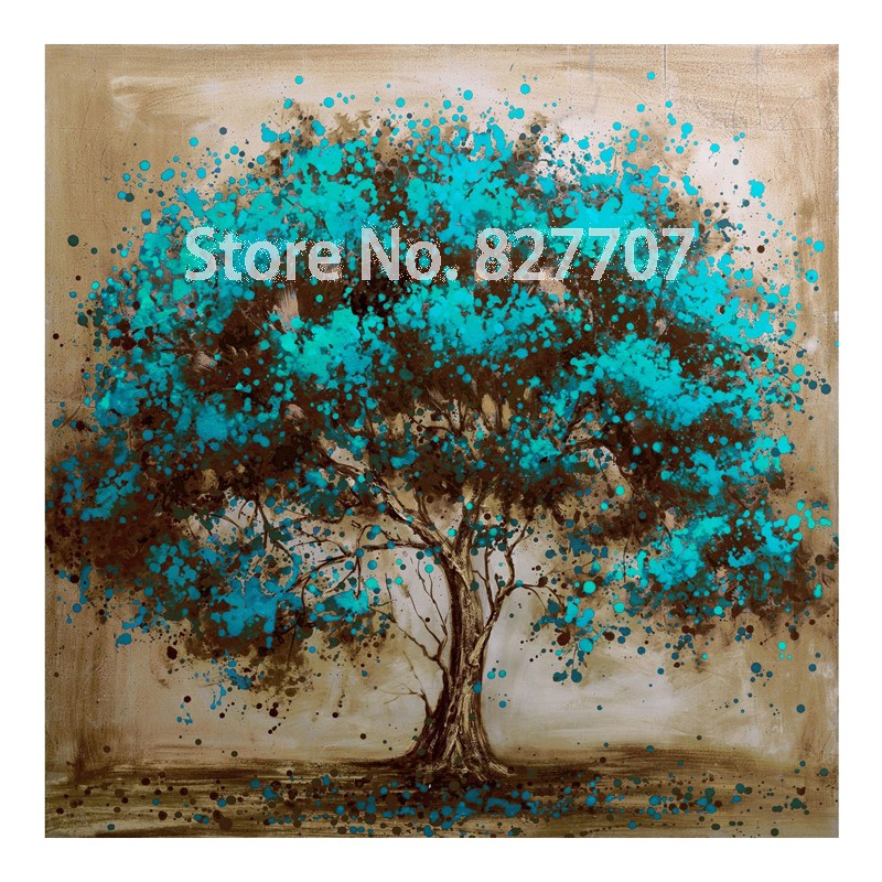 Hand Painted Decorative Tree Red Flower Oil Painting