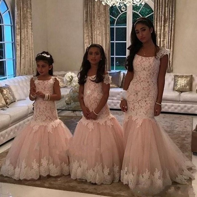 335a933d8405 HQ 2017 Cute Cheap Flower Girls Dresses Blush Pink Mermaid Lace Appliques  Tulle Long Sweep Train Birthday Communion Dresses