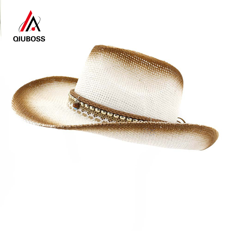 b6e07118ace76 Aliexpress.com   Buy QIUBOSS Fashion Men Women Rope Decorate Brown Paint  Spraying Paper Straw Cowboy Hat Wide Brim Breathable Sunshade Hat Sunhat  from ...