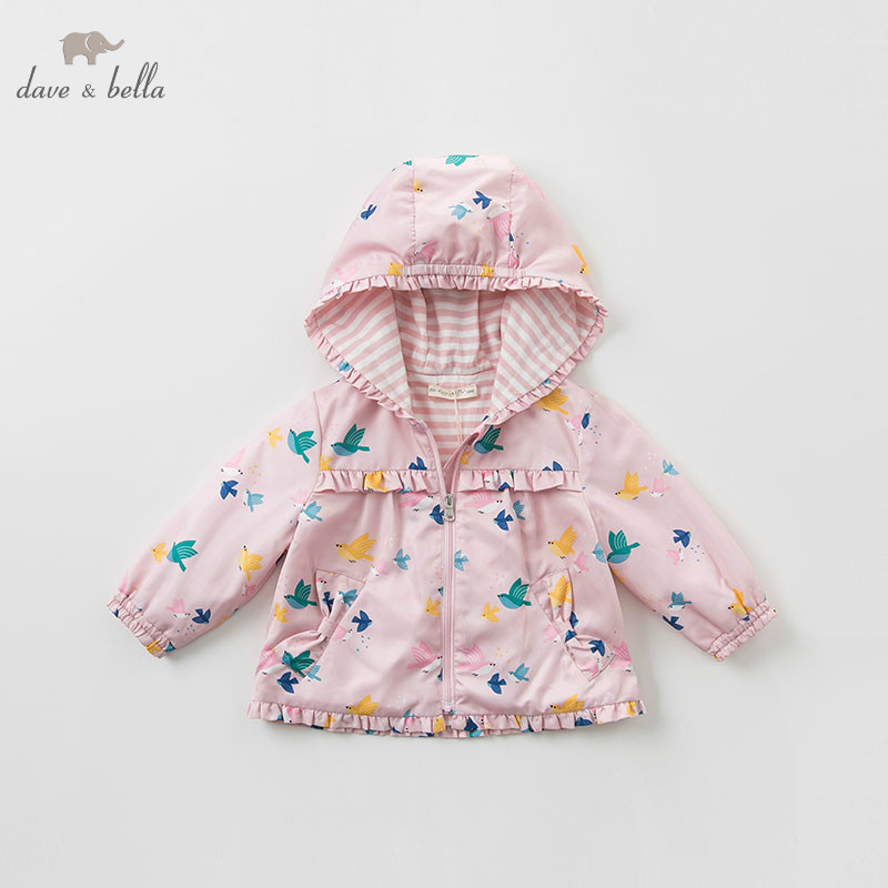 DB10502 dave bella spring baby girls jacket children fashion outerwear kids bird coat