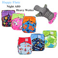 5pcs Happy Flute Night AIO Cloth Diaper Heavy Wetter Bamboo Charcoal Double Gussets Reusable Cloth Nappy Fit 3-15kg Baby