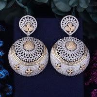 GODKI 63mm Exaggerate Luxury Big SizeFull Micro Cubic Zirconia Naija Wedding Party Earring Fashion Jewelry For