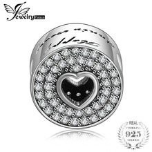 Jewelrypalace 925 Sterling Silver Bad love Fadeway Black Cubic Zirconia Heart Beads Charms Fit Bracelets Gifts For Women