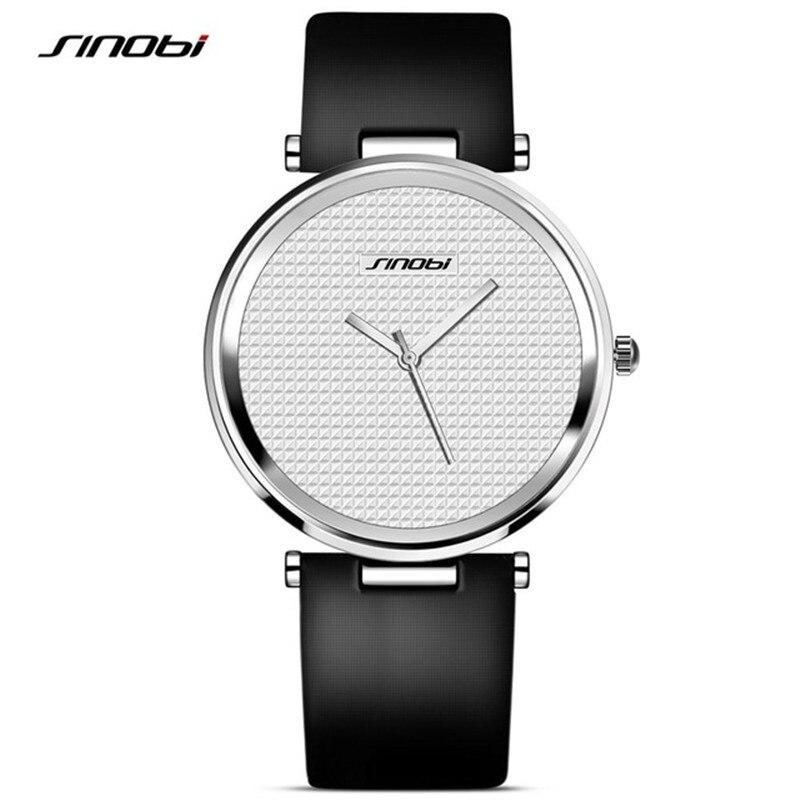 SINOBI Mens Ultrathin Wrist Watches Luxury Brand Leather Watchband Males Waterproof Quartz Clock Montre Homme Marque