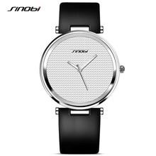 SINOBI Hommes Ultra-Mince Poignet Montres Marque De Luxe Bracelet En Cuir Hommes Étanche Quartz Horloge Montre Homme Marque de Luxe F47