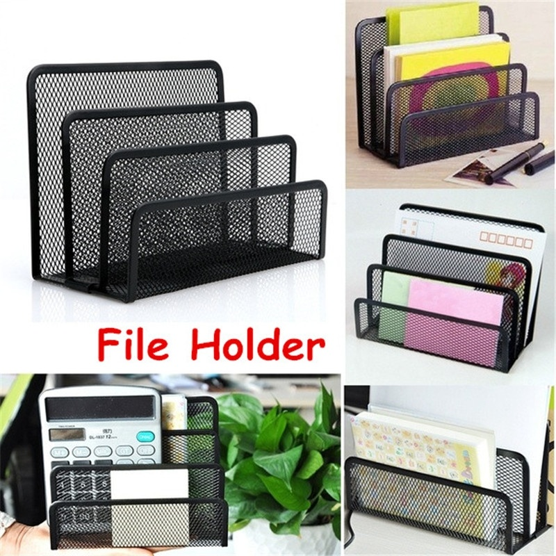 1pcs Black Mesh Letter Paper File Storage Rack Holder Tray Organiser Desktop Office image