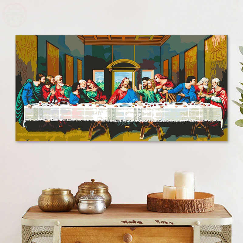 painting by numbers art paint by number The Last Supper Jesus Christ Digital Painting Biblical story Da Vinci mural Decorative