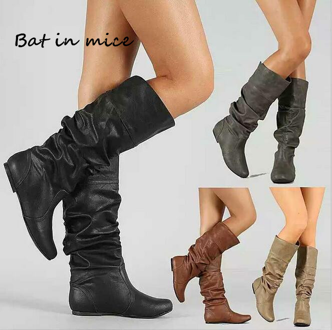 Fashion women casual Mid-Calf boots shoes PU Leather women Female Winter Warm Round Toe Slip-On flat Snow Boots shoes mujer W256 xiaying smile winter women snow boots warm antieskid mid calf boots platform strap slip on flats casual women flock rubber shoes