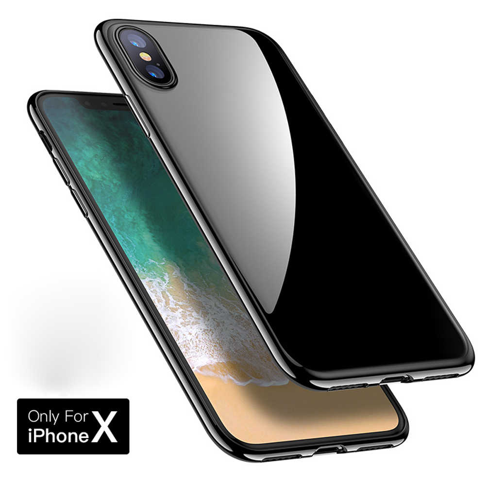 best sneakers 856f8 a58be Jetjoy For iPhone X Silicone Case Jet Black Glossy Shining Black Jelly Soft  Rubber Shockproof Phone Cases Covers For 6S 7 8 Plus