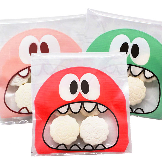 50pcs Cute Small Monster Sharp Teeth Baking Christmas Gift Packaging Bags Wedding Party Self Adhesive Cookie Candy Plastic Bag