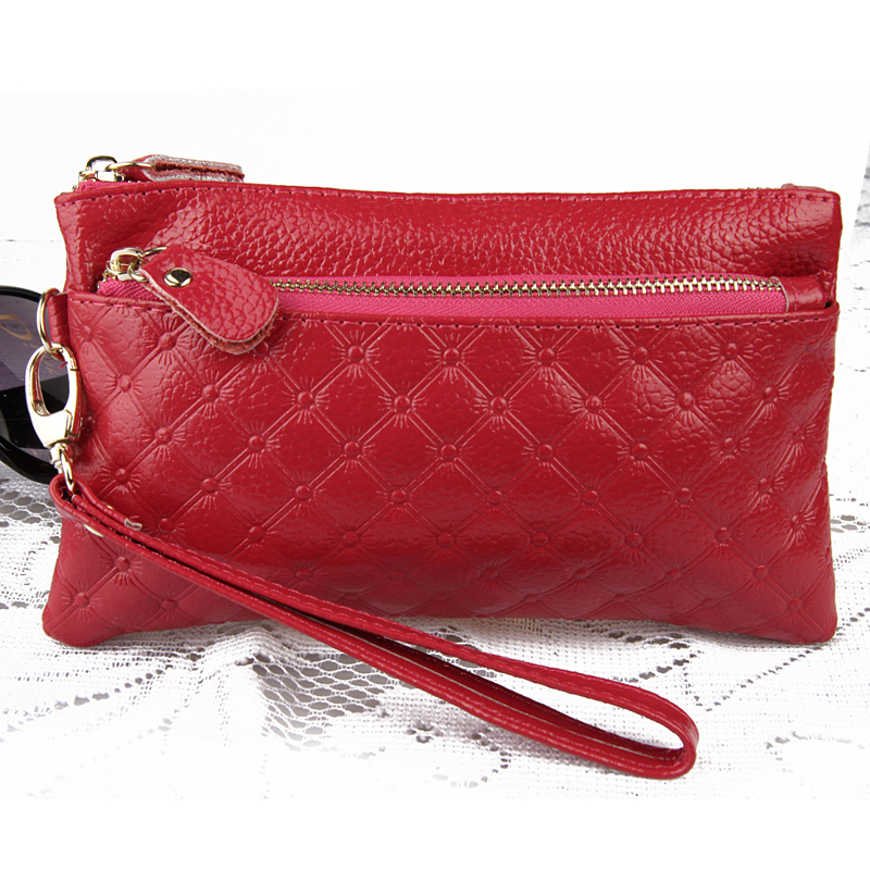 7a3c446af1434 2017 Cowhide Clutch Bag Small Women Double Zipper Genuine Leather ...
