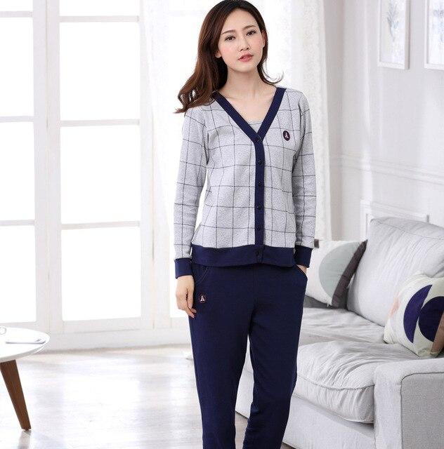 2016 New Winter Long-sleeved Thick Cotton Pajamas Couple Comfortable Cardigan Three-piece Ladies Home Clothes MJSUQJ3533