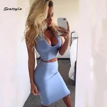 Seamyla New Sexy Bandage Dresses 2017 Choker Deep V Neck Vestidos Knee Length Women Two Piece Set Bodycon Celebrity Party Dress